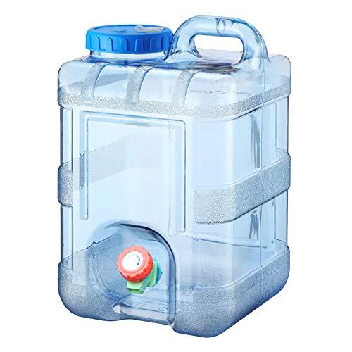 QINGCHU Bidón de agua de 7,5/10/15 litros en color natural con grifo para verter, grifo de drenaje, tapa de rosca, bidón de agua potable, portátil, sin BPA, camping, coche