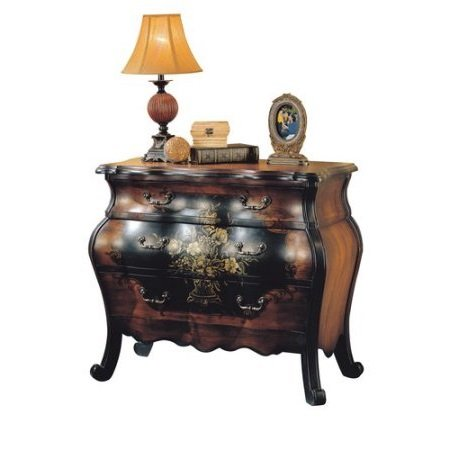 Major-Q 34' H Painted Floral Design Traditional Style 3-Drawer Storage Bombay Chest in Antique Black and Oak Finish