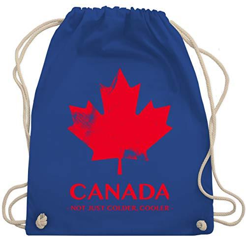 Shirtracer Länder - Canada Vintage Not just colder cooler - Unisize - Royalblau - kanada turnbeutel - WM110 - Turnbeutel und Stoffbeutel aus Baumwolle