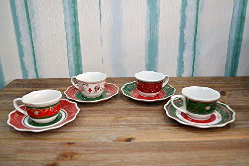 BRANDANI Set 4 PZ. TAZZINE da Caffe Collezione Tempo di Festa in Porcellana.