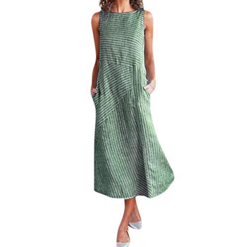 Great Deal! ZOMUSAR Women Casual Striped Print Sleeveless Dress Neck Linen Pocket Long Dress Women's...