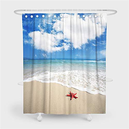 Chickwin Duschvorhang Wasserdicht Anti-Schimmel 3D Ozean Meer Drucken Polyester Bad Vorhang mit 12 Duschvorhangringe für Badezimmer Decor (90x180cm,Seestern Strand)