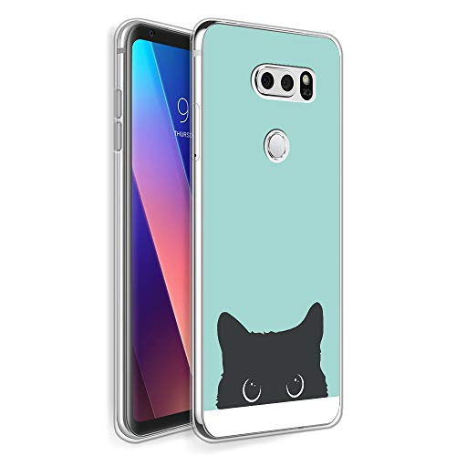 HELLO GIFTIFY HelloGiftify Tiffany Blue&Cat TPU Soft Gel Protective Case. Compatible with LG V30