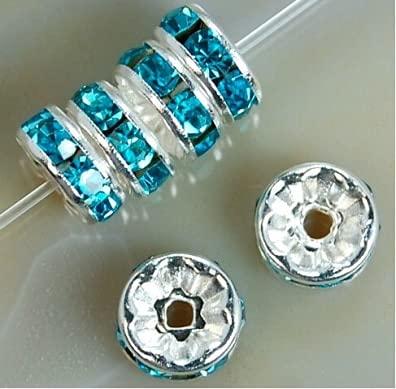 FICI Accessoire de Bijoux 100 pièces 4/6/8/10mm perles de Cristal en métal Strass perles d'espacement pour la Fabrication de Bijoux BraceletCollier Accessoires de bricolage