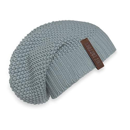 Knit Factory XXL driehoekig sjaal sjaal omhangdoek model Coco muts beanie gebreide sjaal 190x85 cm (mutstenen green)