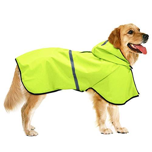 Impermeabile Cane Cappuccio con Foro per Guinzaglio Imbracatura Ultraleggero Cappotto per Cani Impermeabile Cappuccio per Cani di Taglia Piccolo Media Grande Verde 4XL