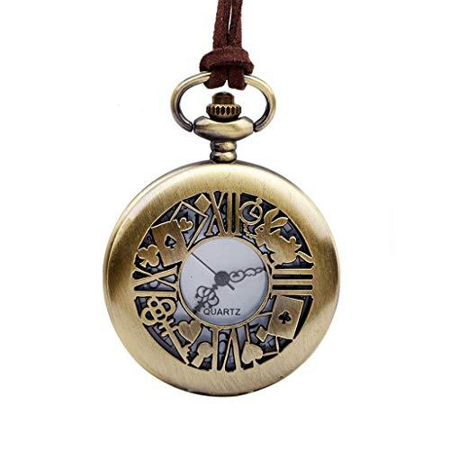 Reloj de bolsillo clásico y elegante. Mens del reloj de bolsillo con cadena, de la vendimia del recorte Poker conejito clave unisex - Aniversario del cumpleaños de Navidad Regalos del día de padre Eld
