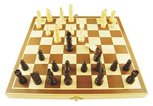 WJJ Ajedrez Internacional Madera Plegable Hijos de ajedrez, 28 x 29 cm, for Principiantes/Juegos de logica/Ejercicio de Pensamiento/Ejercicios de los Estudiantes/Estrategia de Juego de Mesa
