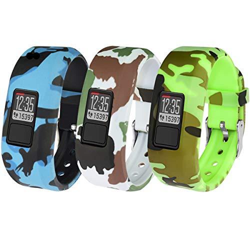 Vozehui Armband Kompatibel mit Garmin Vivofit 3 / Vivofit JR/Vivofit JR 2, DREI Packungen Flexible Bunte Ersatz-Sportarmbänder aus weichem Silikon für Kinder Jungen Mädchen