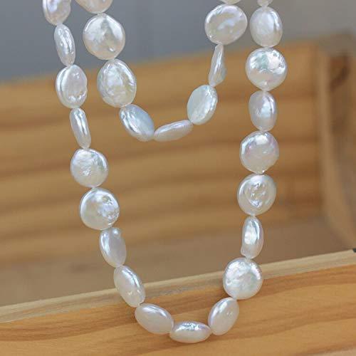 Mujeres Regalo Palabra 925 Sterling Real Natural Forma Especial Perla Larga suéter, Cadena Fuerte luz, botón Blanco Perla Cuello
