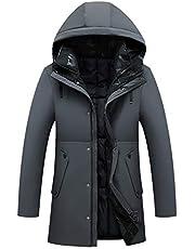 メンズ ダウンジャケット ロング メンズ ダウンコート 厚手 防風 防寒 大きいサイズ 中綿ジャケット メンズ gray XL
