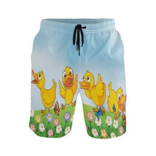 BONIPE Herren Badehose Cute Cartoon Vier Gelb Enten im Garten mit Blumen Schmetterling Schnell Trocknende Boardshorts mit Kordelzug und Taschen Gr. L/XL, mehrfarbig