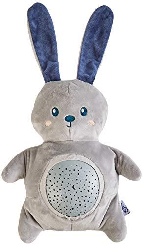 Pabobo - Mimi Bunny - Veilleuse Musicale Lapin Projecteur d'Étoile - Doudou Bébé/Enfant - Gris