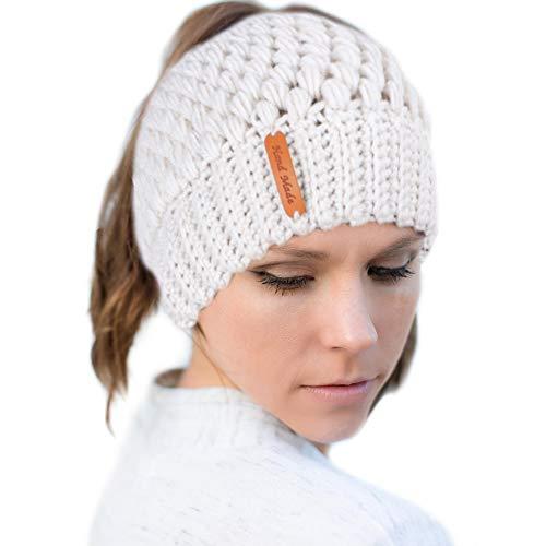 Tacobear Damen Wintermütze Pferdeschwanz Mütze Strickmütze mit Zöpfen Loch Beanie Hut für Pferdeschwanz Brötchen (Beige)