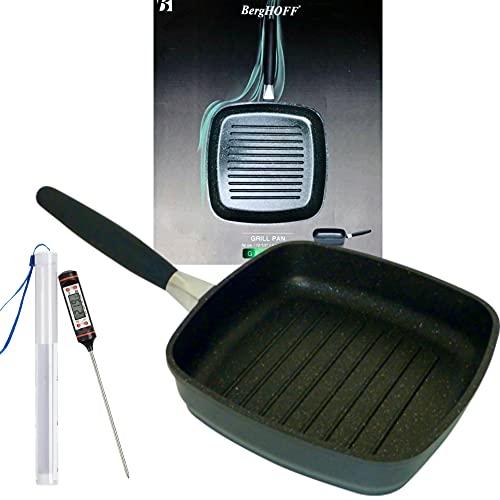 Premium BergHOFF Grillpfanne Induktion mit abnehmbarem Griff 24cm - Steakpfanne mit Antihaft aus Aluguss - Induktionsgeeignete Fleischpfanne auch für Grill oder Backofen incl. Fleischthermometer