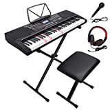 LAGRIMA 61 Key Electric Keyboard Piano with Stand, Light Up Keys for Beginner, Lighted Portable Keyboard w/Music Player Function, Micphone, Power Supply, Music Stand, Adjustable Stool, Black