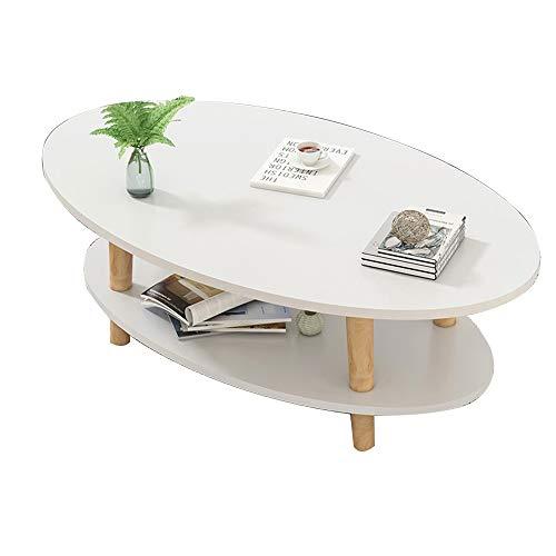 QULONG Einfacher Und Modernes 2-Tier Kaffeetisch, Haus Wohnzimmer Kleine Wohnung Beistelltisch, Kreative Oval Couchtisch, Einfache Schlafzimmer Massivholz-Tee-Tabelle, 3 Farben,Weiß,100x50x43cm