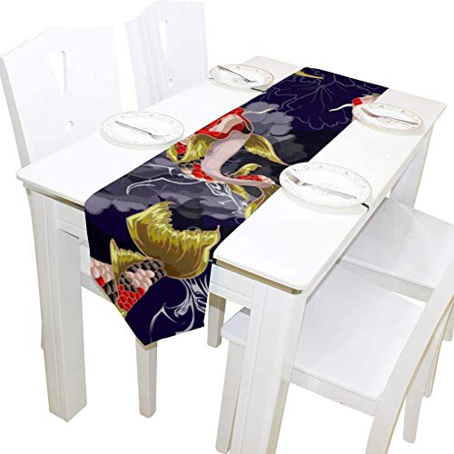 BONRI Japonés Koi Fish Lucky Dresser Bufanda Cubierta de Tela Camino de Mesa Mantel Individual Cocina Comedor Sala de Estar Hogar Boda Banquete Decoración Interior , 13 * 70in,13 * 70in