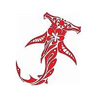 13.8cm×15.4cmの部族のサメとハイビスカスファッションビニールカースタイリングカーステッカーデカール (Color : 3)
