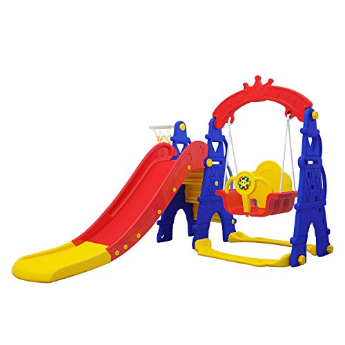 Brook Hi Vis UK 4 in 1 Kids & Toddler Swing & Slide With Basketball Hoop! Climbing Ladder AFE08 Colourful