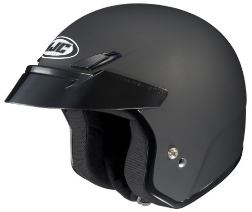HJC CS-5 Open-Face Motorcycle Helmet (Flat Black, Large)