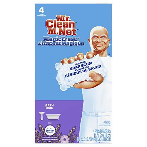 Mr. Clean Magic Eraser for Bath and Bathroom, Removes Soap Scum, Lavender Scent, 4 Pads