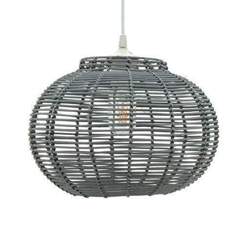 LUSSIOL Luminaire Korba gris, suspension rotin, 60 W, gris, ø 30 x H 24 cm