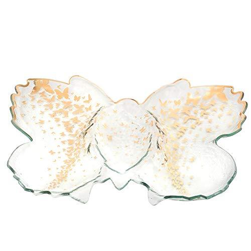 AnnieGlass Roman Antique Gold Butterfly (platter) Chip & Dip Server #b200g