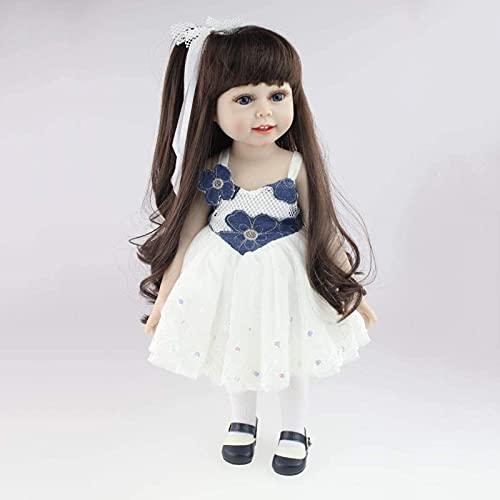 GDEVNSL Reborn Baby Dolls, Silicona Renacimiento muñeca Princesa Pelo Largo Vestir muñeca niños Jugar casa baño Accesorios de fotografía niña Juguete 45 cm