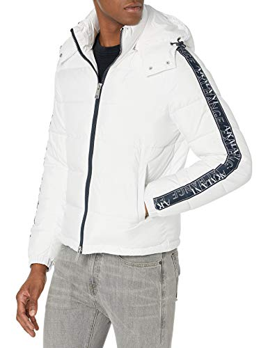 A|X Armani Exchange Men's Puffer Jacket with Removable Hood, White, XL