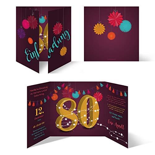 Ronde 60e verjaardag individuele uitnodigingskaarten uitnodigingen - slinger 20 Stück 80 jaar