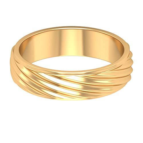Anillo de compromiso para hombre, anillo de cuerda grabado, anillo de boda simple, anillo de declaración de novio, delicado anillo de aniversario, 14K Oro amarillo, Size:EU 44