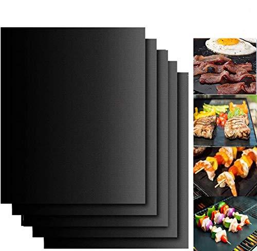 Emwel BBQ Grillmatte (5er Set) Grillen und Backen,Barbecue Grill Matte Backmatte Wiederverwendbar für Holzkohlegrill, elektronischen Grill, Backofen 40x33cm