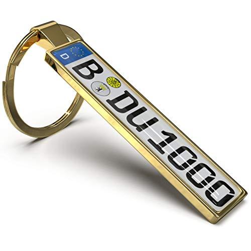Wunderding Kennzeichen Schlüsselanhänger - Personalisiertes Mini Kfz-Kennzeichen als Schlüssel-Anhänger, Männer und leidenschaftliche Autofans (Gold)