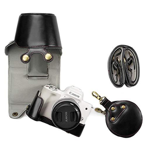 Kinokoo - Borsa custodia apribile in pelle di PU per Canon EOS M50e custodia copriobiettivo da 15–45mm