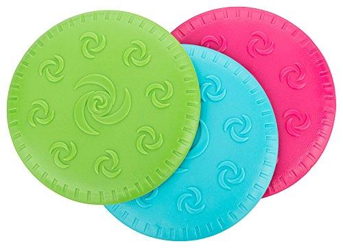 CH Handel Hunde Frisbee/Dog Disc - 3er Set (3 Stück) in den Farben türkis, grün und pink - Durchmesser ca. 15 cm