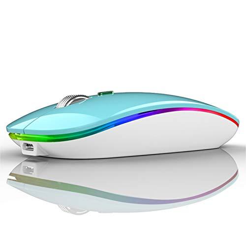 Uiosmuph Kabellose Maus 24Ghz Funkmaus wiederaufladbar leise Wireless Mouse Schnurlos Kabellos Optische Maus mit USB Nano Empfanger fur PCTabletLaptop und WindowsMacLinux Blau