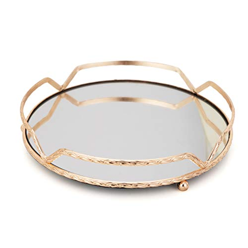 Cosmetic Jewelry Storage Tray Mirror Tray Handicraft Ornaments Round Tray Snack Storage Nordic Simple Style Cosmetic for Dresser