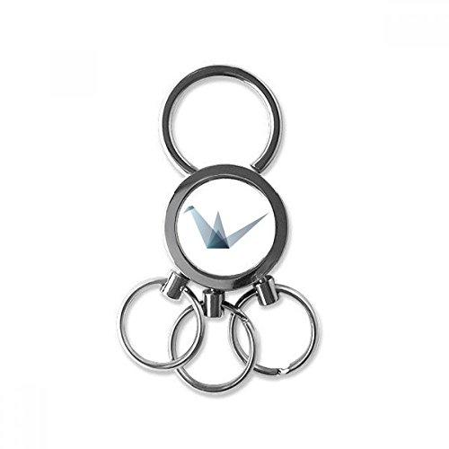 Origami Abstracte Kraan Geometrische Vorm RVS Metalen Sleutelhanger Ring Auto Sleutelhanger Clip Gift