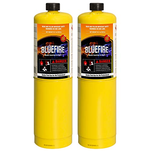 Pack of 2, 16.1 oz BLUEFIRE Modern MAPP Gas Cylinder, 14% More Bonus Fuel than MAP-PRO, Hotter than Propane! Variation of Quantity Bundles Available (2)