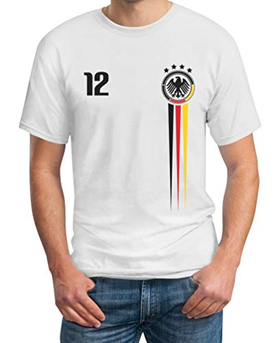 Deutschland Trikot EM Fanartikel 2021 - Fan Nationaltrikot EM Shirt T-Shirt S Weiß