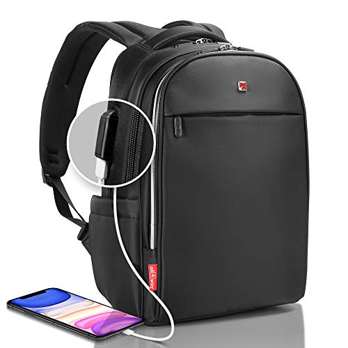 Business Laptop Backpack Swiss Design USB Quick Charge for Men Women Raincover (15, Black)