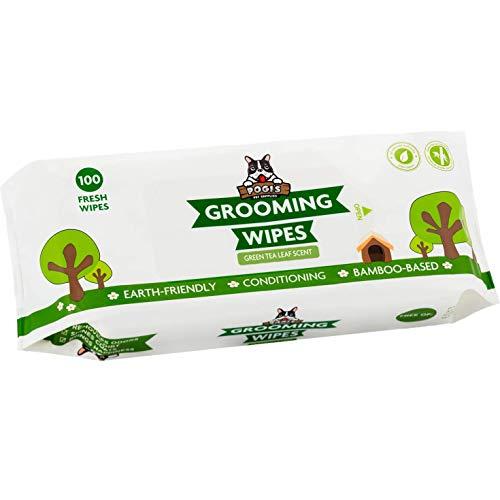Salviette Pogi per toelettatura - 100 salviette deodoranti per Cani - biodegradabili, Profumo di tè Verde, Naturali