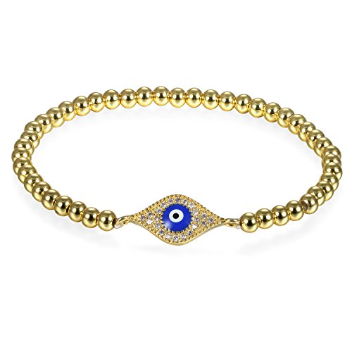 JewelryWe Schmuck Damen Charm Armband, Elegant Zirkonia Evil Eye Blaue Böse Auge Nazar Boncuk Perlenarmband Armkette Armreif, Gold Blau