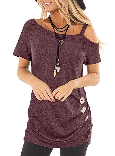 BLENCOT Camicetta Elegante Donna Manica Lunga Camicia da Donna Collo Asimmetrico Donna Blusa Tinta Unita Camicia T-Shirt, Rosso, S