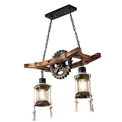 Lámpara colgante Lámpara colgante de madera Lámpara colgante vintage Lámpara colgante industrial Mesa Bombillas de luz de techo retro Lámpara E27 Dormitorio Sala de estar Comedor Bar