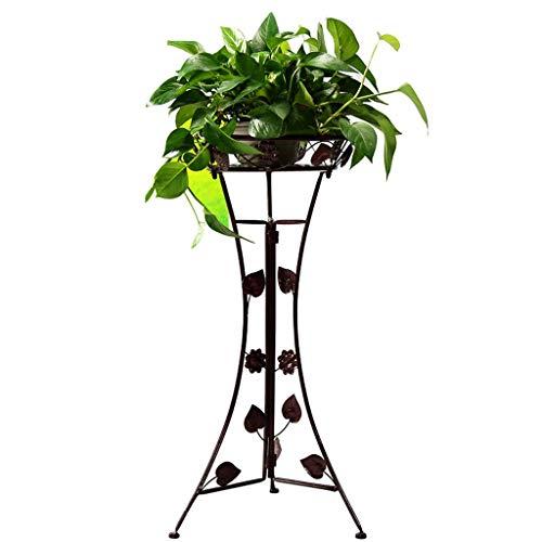WYJW Iron Flower Rack Art, RVS bloempot houder van buiten (zwart/bruin/wit) (kleur: wit-A)