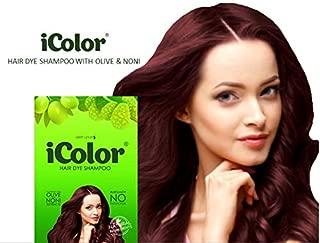 iColor Hair Dye Shampoo Burgundy 30ml (1.014 ounces) x 10 sachets in a box, shampoo-in hair color, dye, black hair in 5 minutes, DIY, convenient, easy to use coloring shampoo