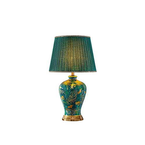 CJH atmosferische exclusieve Villa Retro keramische tafellamp slaapkamer bedlampje woonkamer sofa salontafel Emerald Green Grote bureaulamp Lighting