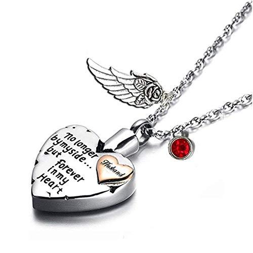 KBFDWEC Collar de urna de cremación de corazón para Colgantes de alas de Cenizas, Joyas y Piedras de Nacimiento Que ya no están a mi Lado, Pero para Siempre en mi corazón